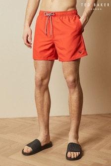 Ted Baker Orange Cheef Plain Swim Shorts With Back Pocket