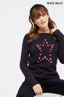 White Stuff Purple Bobble Star Jumper