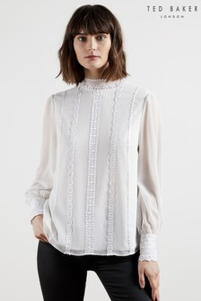 Ted Baker Vessar Lace Trimmed Top With Stand Collar