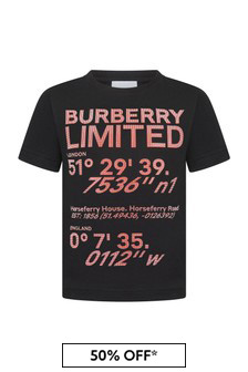 Burberry Kids Black Cotton T-Shirt