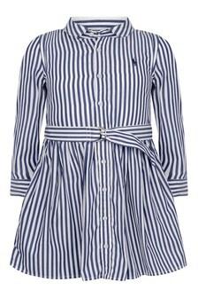 Girls Blue Striped Cotton Shirt Dress