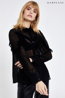 Harpenne Black Ruffle Detail Embellished Blouse
