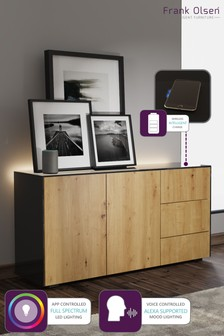 Frank Olsen Smart LED Black and Oak Sideboard