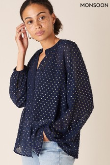 Monsoon Blue Spot Embroidered Blouse