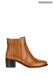 Monsoon Tan Brogue Leather Boots