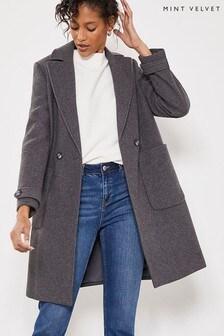 Mint Velvet Charcoal Boyfriend Coat