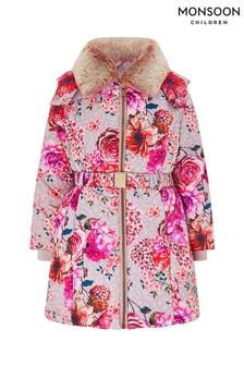 Monsoon Grey Belle Print Padded Coat