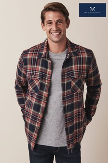 Crew Clothing Blue Long Sleeve Flannel Overshirt
