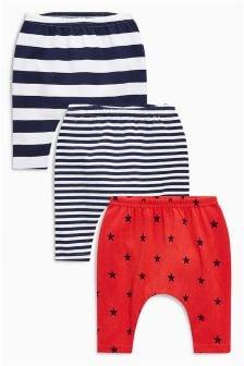 条纹星星打底裤三件装 (0个月-2岁)