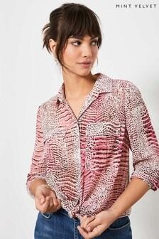 Mint Velvet Pink Lillian Snake Print Shirt