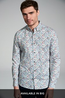 Slim Fit Garden Floral Long Sleeve Shirt