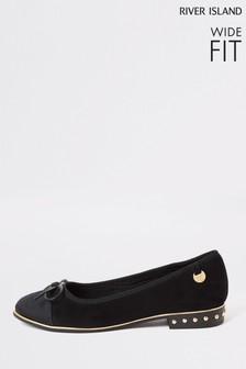 River Island Black Black 9743 Toe Cap Ballerina Wide Fit Shoes