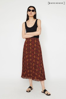 Warehouse Orange Snake Pleated Midi Skirt