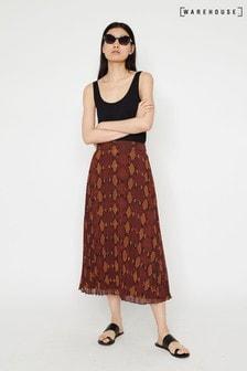 Warehouse Orange Snake Pleated Midi Skirt