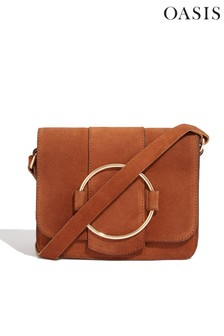 Oasis Brown Suede Ring Cross Body Bag