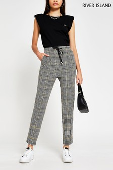 River Island Black Pleat Check Joggers