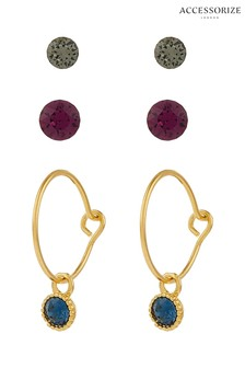 Accessorize Gold Tone Stud And Hoop Earrings Three Pack With Swarovski® Crystals
