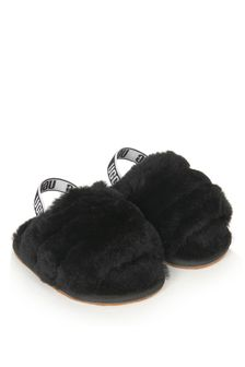 UGG Girls Black Fluff Yeah Sliders