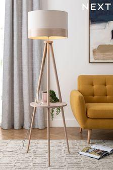 Natural Malmo Shelved Tripod Floor Lamp