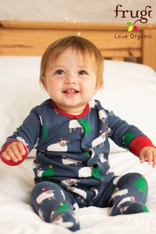 Frugi Organic Christmas Babygrow With Turn Scratch Mitts