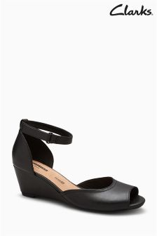 Clarks Black Flores Two Part Wedge