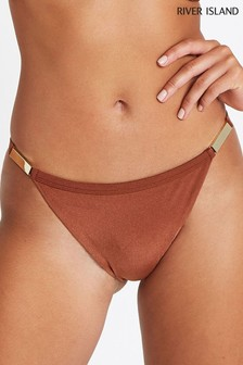 River Island Brown Gold Trim High Leg Bikini Brief