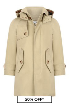 Boys Beige Cotton Trench Coat