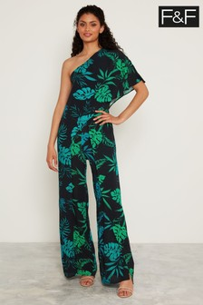 F&F Black Ombre Tropical One Shoulder Jumpsuit