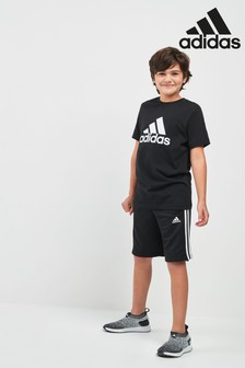 adidas Essentials Black 3 Stripe Jersey Short