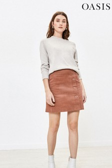 Oasis Natural Side Button Cord Mini Skirt