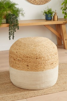 White And Natural Jute Pouffe