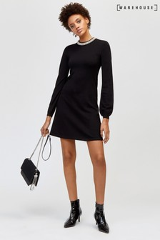 Warehouse Black Embellished Neck Shift Dress