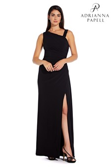 Adrianna Papell Black Asymmetrical Shirred Gown