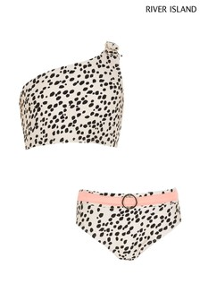 River Island Beige Leopard One Shoulder Crop Bikini