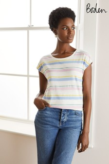 Boden White Robyn Jersey T-Shirt