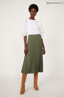Warehouse Pleated Wrap Midi Skirt