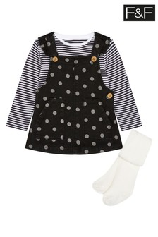 F&F Grey Mono Spot Pinafore