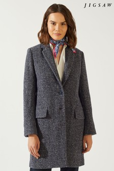 Jigsaw Blue Herringbone City Coat