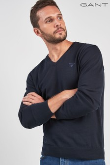 GANT Navy V-Neck Knit Jumper