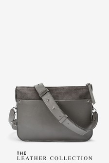 Leather 3 Compartment Across-Body Bag