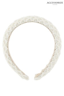 Accessorize Cream Padded Pearly Criss Cross Alice Band