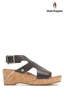 Hush Puppies Black Maya Wedge Sandals