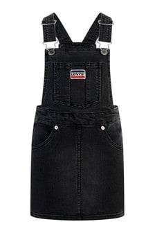 Girls Black Stretch Denim Dungaree Dress