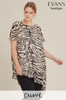 Evans Curve Brown Zebra Overlay Top