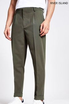 River Island Green Twill Pleat Tapered Trousers