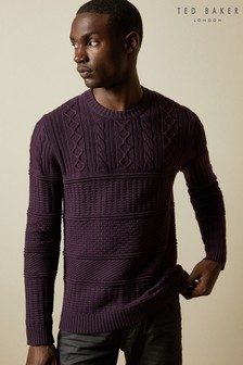 Ted Baker Purple Marbal Multi Stitch Crew Neck Jumper