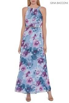 Gina Bacconi Blue Kinia Floral Chiffon Maxi Dress