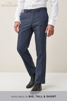 Signature Wool Blend Check Slim Fit Trousers