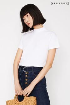 Warehouse White Funnel Neck T-Shirt