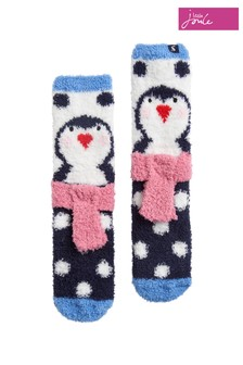 Joules Blue Festive Novelty Fluffy Socks